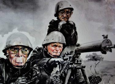 Správná trojka, akvarel 2014